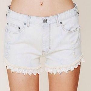 Free People pinstriped distressed denim shorts 29